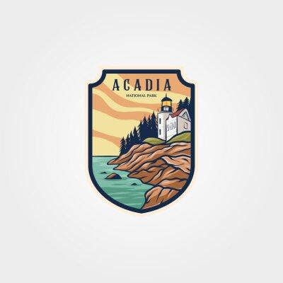 Fototapeta acadia national park logo sticker patch vector symbol illustration design