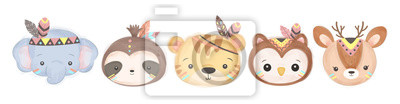Fototapeta adorable animals illustration for personal project,background, invitation, wallpaper and many more