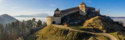 Fototapeta Aerial drone panoramic view of Historical fortress in Risnov or Rasnov. Romania