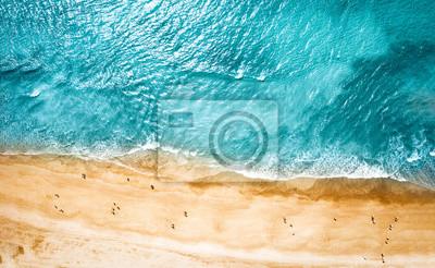 Fototapeta Aerial photo of summer beach and blue ocean with sky.