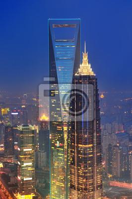 Aerial Shanghai o zmierzchu