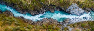 Fototapeta Aerial Vertical View Over The Surface Of A Mountain River Glomaga, Marmorslottet , Mo i Rana