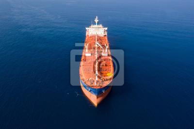 Fototapeta Aerial view of a Mega Oil tanker cruising slowly at The Mediterranean Sea.