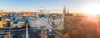 Fototapeta Aerial view of Luxembourg in winter morning