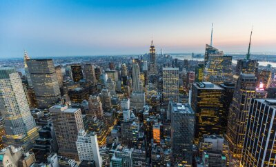 Fototapeta Aerial View of New York at Dusk