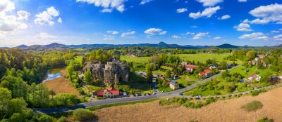Fototapeta Aerial view of Sloup Castle in Northern Bohemia, Czechia. Sloup rock castle in the small town of Sloup v Cechach, in the Liberec Region, north Bohemia, Czech Republic.