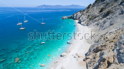 Fototapeta Aerial view of the beautiful Lalaria beach in Skiathos. Drone photography