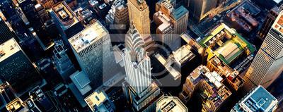 Fototapeta Aerial view of the skyscrapers of Midtown Manhattan New York City