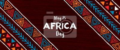 Fototapeta Africa Day banner of traditional african art
