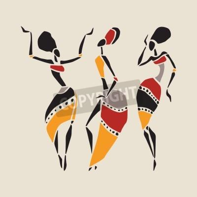 Fototapeta Afrykańskich tancerzy sylwetka zestawu.