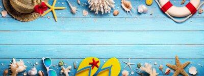 Fototapeta Akcesoria Plażowe Na Niebieskim Plank - Holiday Holiday Banner