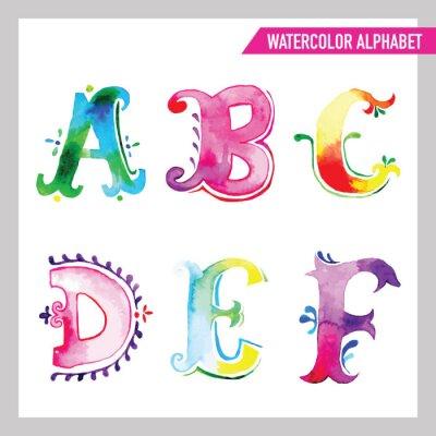 Fototapeta Akwarela alfabet. Akwarela czcionki. ABC Malowane Listy AF