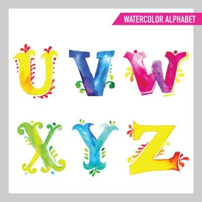 Fototapeta Akwarela alfabet. Akwarela czcionki. ABC Malowane Listy UZ