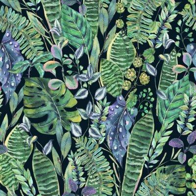 Fototapeta Akwarela Bez szwu Egzotyczne Tło Z Tropikalnych Liści