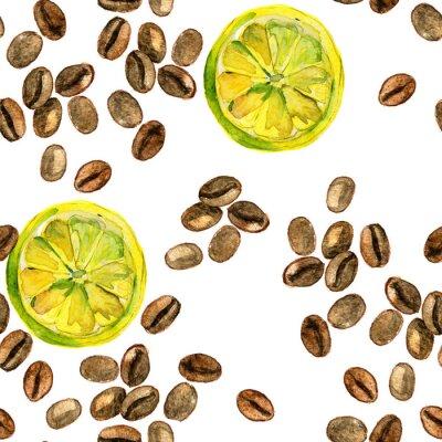 Fototapeta akwarela bezszwowe wzór z cytryny i ziaren kawy