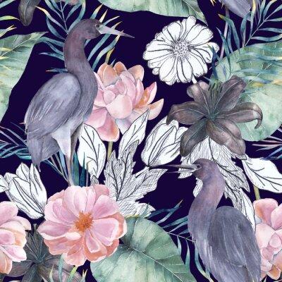 c970927a0b9359 Fototapeta Akwarela bezszwowe wzór z elementami tuszu. Egzotyczne ptaki i  kwiaty. Ręcznie rysowane ilustracji