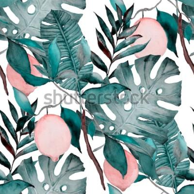 Fototapeta Akwarela bezszwowe wzór z tropikalnych liści i owoców cytrusowych. Moda w botaniczny nadruk.