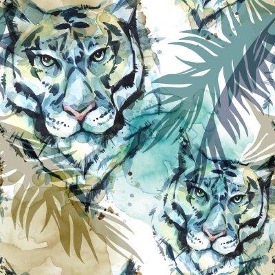 Fototapeta Akwarela egzotycznych wzorek bez szwu. Tygrysy z kolorowymi liśćmi tropikalnych. Afrykańskie tło zwierząt. Ilustracja sztuki przyrody. Można drukować na koszulkach, torbach, plakatach, zaproszeń, kart