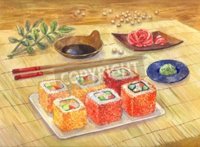 Fototapeta Akwarela ilustracji. Japońskie jedzenie. Sushi lub bułki, wasabi, imbir. Zamów w restauracji.