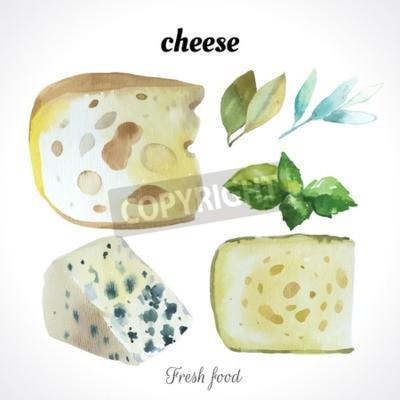 Fototapeta Akwarela ilustracji technik malowania. Świeże żywności ekologicznej. Zestaw różnych serów szlachetnych. Bar niebieski ser.