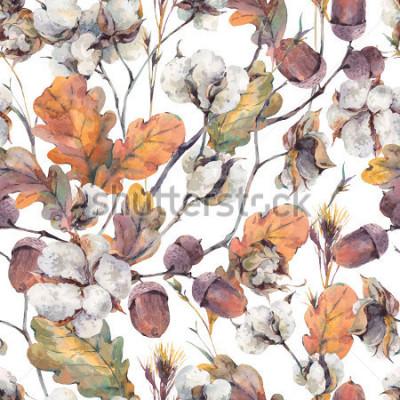Fototapeta Akwarela jesień tło z gałązek, kwiat bawełny, żółte liście dębu i żołędzie. Botaniczny akwarela ilustracje wzór