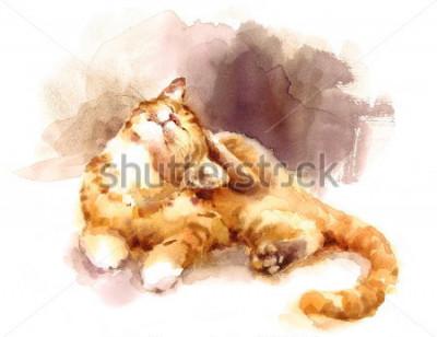 Fototapeta Akwarela kot pręgowany ustawiające się na głowie ręcznie malowane zwierzę portret ilustracja