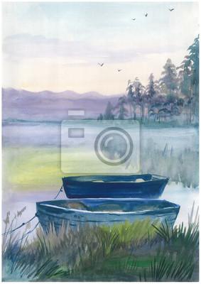 Akwarela łodzi na rzece w harmonii z naturą. Może być używany do: plakaty, kartki, zaproszenia i pozdrowienia.