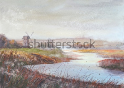 Fototapeta Akwarela malarstwo krajobraz. Rzeka i stary wiatrak. Akwarela ilustracja.