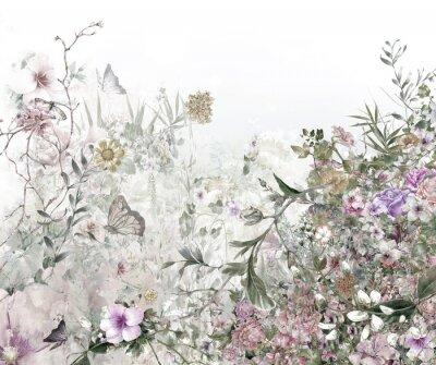 Fototapeta akwarela malarstwo liści i kwiatów, na białym tle