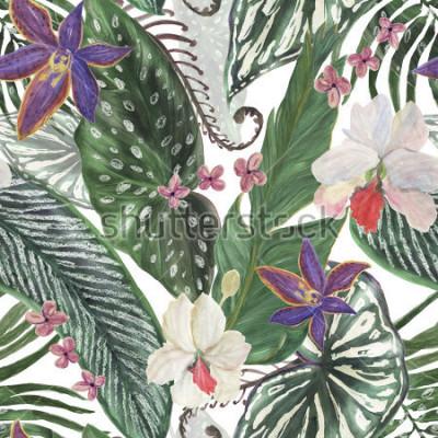 Fototapeta akwarela malarstwo wzór z pięknych egzotycznych kwiatów orchidei i liści tropikalnych