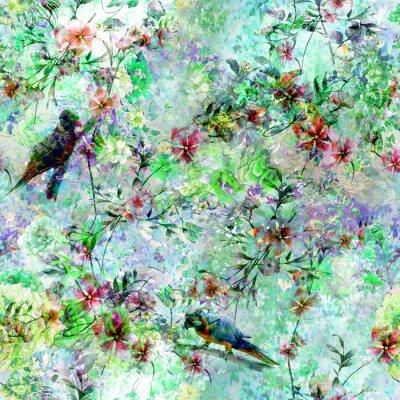 Fototapeta Akwarela malarstwo z ptaków i kwiatów, wzór