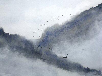 Fototapeta akwarela mglisty krajobraz górska mgła i ptaki latające na niebie. tradycyjny orientalny atrament azjatycki styl sztuki