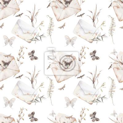 Fototapeta Akwarela motyl i lato pole zioła wzór. Ręcznie malowane tekstury z koperty, ćmy i elementy botaniczne: rośliny, paproć, liście. Naturalne powtarzające się tło
