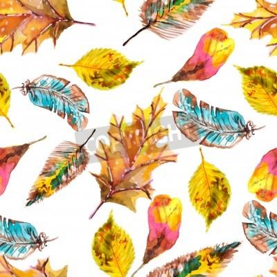 Fototapeta Akwarela naturalnych wzorek bez szwu, piękne niekończące się tło