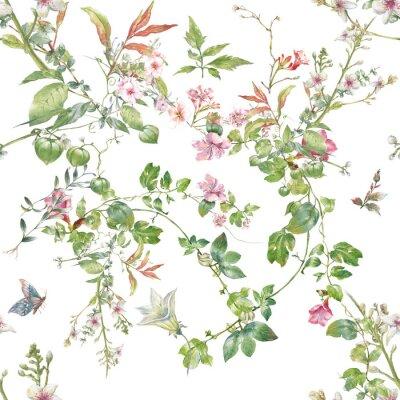 Fototapeta Akwarela obraz liść i kwiaty, bezszwowy wzór na białym tle