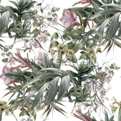 Fototapeta Akwarela obraz liść i kwiaty, wzór na białym tle