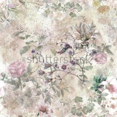 Fototapeta Akwarela obraz liść i kwiaty, wzór wzoru