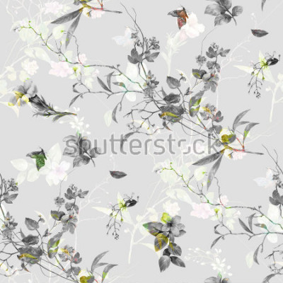 Fototapeta Akwarela obraz liść i kwiaty, wzór wzoru na popielatym tle