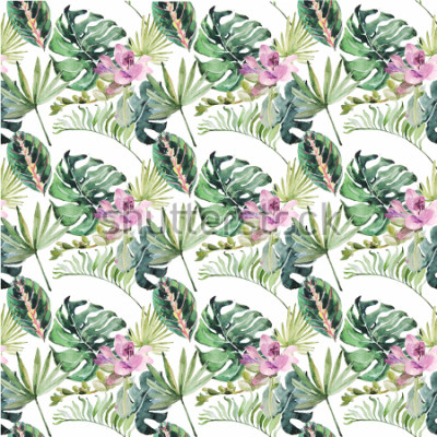 Fototapeta Akwarela ornament z tropikalnych kwiatów i liści na ślub, wakacje, karty z pozdrowieniami, plakaty, książki, koperty, album fotograficzny. Ilustracja na białym tle.
