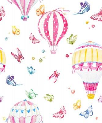Fototapeta Akwarela powietrza baloon wektora wzorca