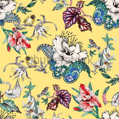 Fototapeta Akwarela ręcznie rysowane wzór z tropikalnych letnich kwiatów i egzotycznych ptaków na żółtym tle