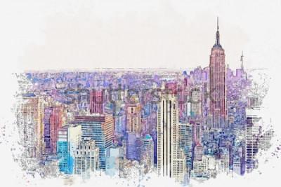 Fototapeta Akwarela szkic lub ilustracja piękny widok na Nowy Jork z miejskich drapaczy chmur. Cityscape lub urban skyline.