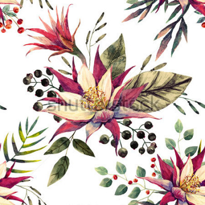 Fototapeta akwarela tropikalny wzór, kwiat kaktusa, białe jagody, liście palmowych, retro kolory