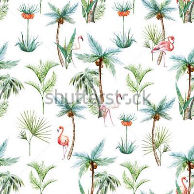 Fototapeta akwarela tropikalny wzór, palmy i flamingi białe tło
