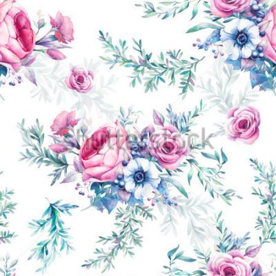 Fototapeta Akwarela vintage kwiatowy wzór. Piwonia, róże, Anemon, eukaliptus, liście, jagody i gałęzie.