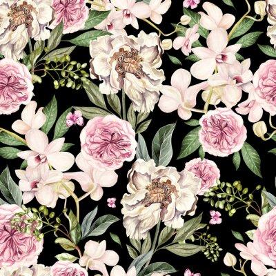 Fototapeta Akwarela wzór z kwiatami piwonii i orchidei.