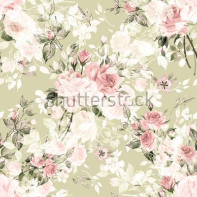 Fototapeta Akwarela wzór z pąków róży i liści K