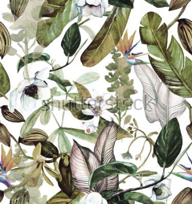 Fototapeta Akwarela wzór z tropikalnych kwiatów, magnolii, kwiatu pomarańczy, wanilii orchidei, liści tropikalnych, liści bananowca