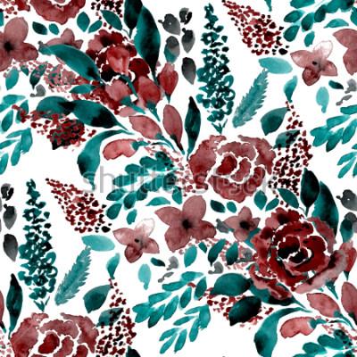 Fototapeta Akwarela wzoru wzór prosty kwiat wyciągnąć rękę. Wzór w kwiaty.