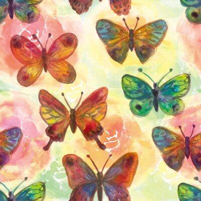 Fototapeta Akwarele malowane kwiaty i motyle Jasny bez szwu patte